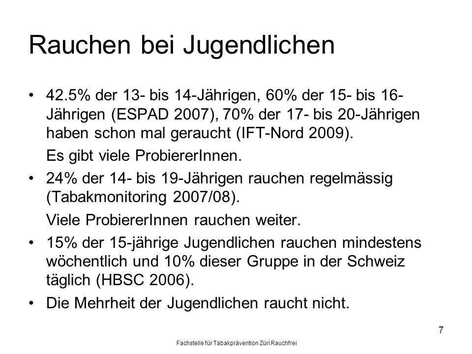 Fachstelle für Tabakprävention Züri Rauchfrei 7 Rauchen bei Jugendlichen 42.5% der 13- bis 14-Jährigen, 60% der 15- bis 16- Jährigen (ESPAD 2007), 70%