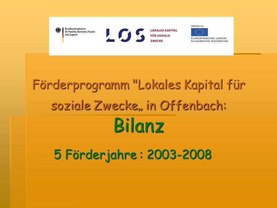 Förderprogramm Lokales Kapital für soziale Zwecke in Offenbach: Bilanz 5 Förderjahre : 2003-2008