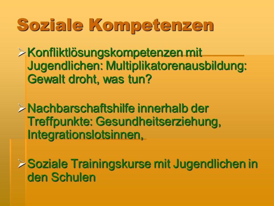 Soziale Kompetenzen Konfliktlösungskompetenzen mit Jugendlichen: Multiplikatorenausbildung: Gewalt droht, was tun.