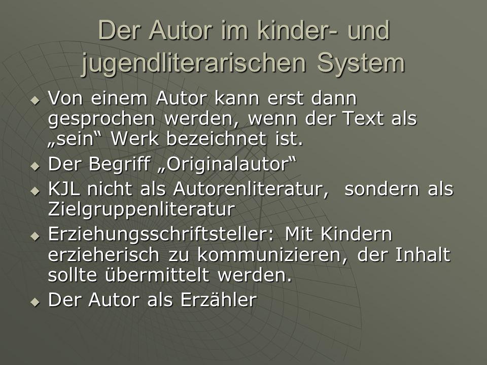 Der Autor im kinder- und jugendliterarischen System Von einem Autor kann erst dann gesprochen werden, wenn der Text als sein Werk bezeichnet ist. Von