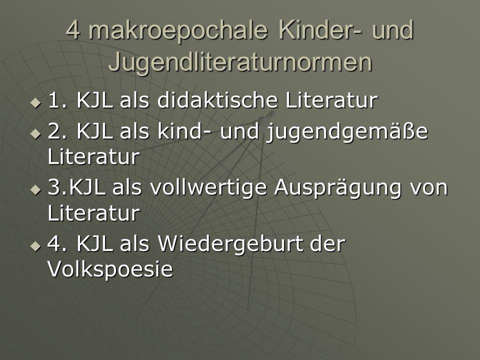 4 makroepochale Kinder- und Jugendliteraturnormen 1. KJL als didaktische Literatur 1. KJL als didaktische Literatur 2. KJL als kind- und jugendgemäße