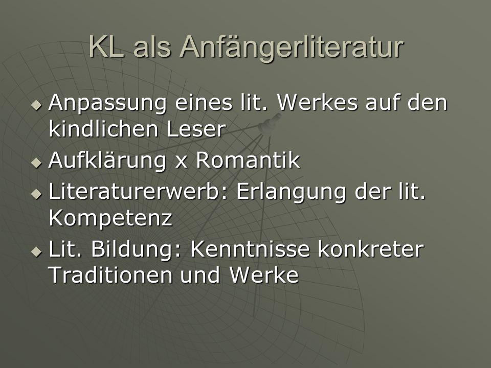 KL als Anfängerliteratur Anpassung eines lit.Werkes auf den kindlichen Leser Anpassung eines lit.