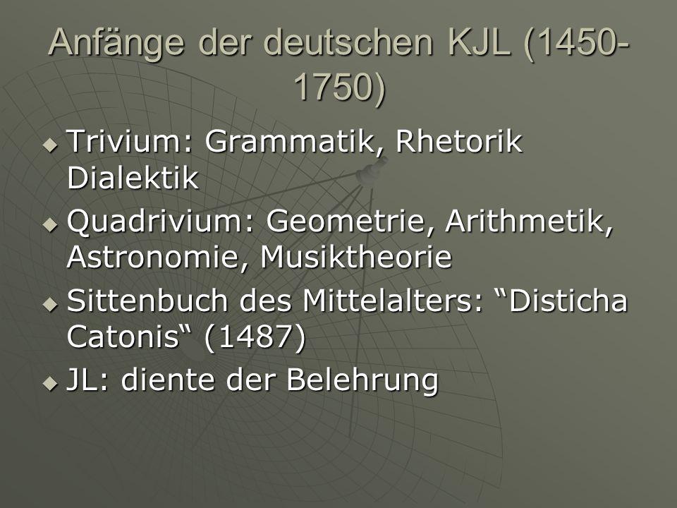 Anfänge der deutschen KJL (1450- 1750) Trivium: Grammatik, Rhetorik Dialektik Trivium: Grammatik, Rhetorik Dialektik Quadrivium: Geometrie, Arithmetik, Astronomie, Musiktheorie Quadrivium: Geometrie, Arithmetik, Astronomie, Musiktheorie Sittenbuch des Mittelalters: Disticha Catonis (1487) Sittenbuch des Mittelalters: Disticha Catonis (1487) JL: diente der Belehrung JL: diente der Belehrung