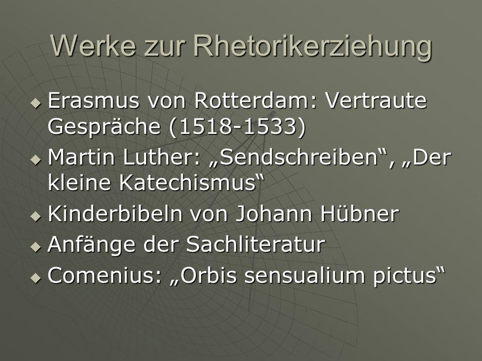 Werke zur Rhetorikerziehung Erasmus von Rotterdam: Vertraute Gespräche (1518-1533) Erasmus von Rotterdam: Vertraute Gespräche (1518-1533) Martin Luther: Sendschreiben, Der kleine Katechismus Martin Luther: Sendschreiben, Der kleine Katechismus Kinderbibeln von Johann Hübner Kinderbibeln von Johann Hübner Anfänge der Sachliteratur Anfänge der Sachliteratur Comenius: Orbis sensualium pictus Comenius: Orbis sensualium pictus