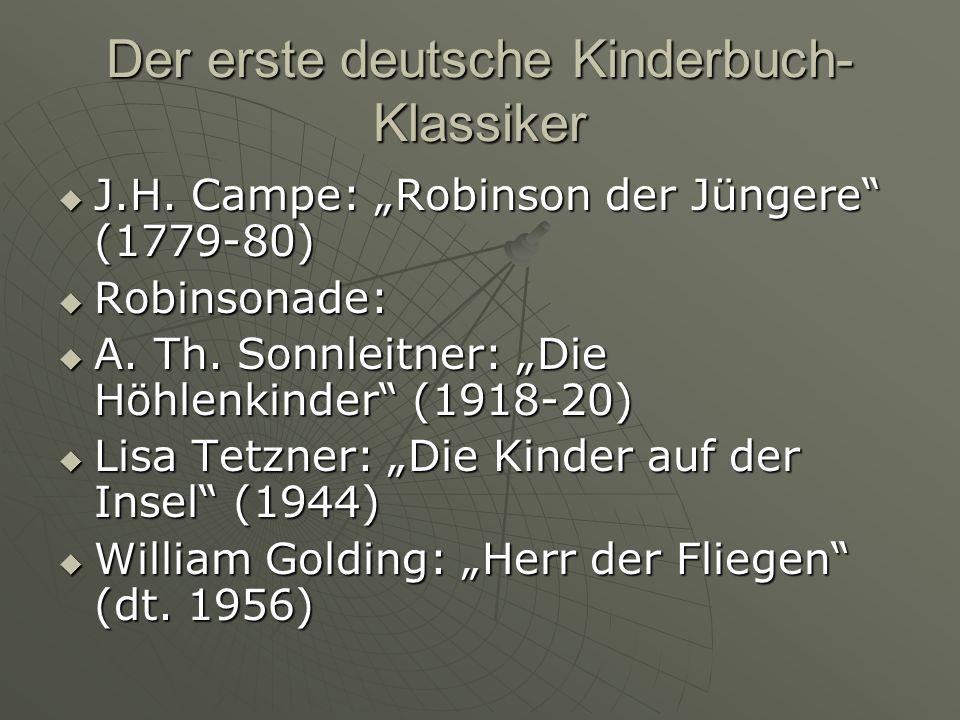 Der erste deutsche Kinderbuch- Klassiker J.H.Campe: Robinson der Jüngere (1779-80) J.H.