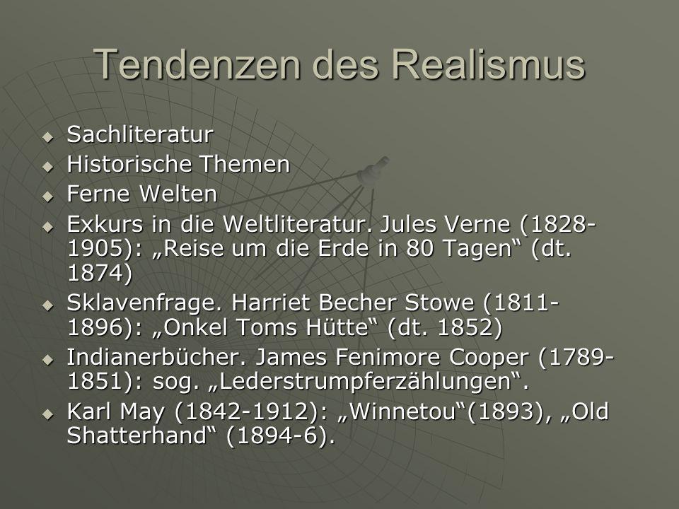 Tendenzen des Realismus Sachliteratur Sachliteratur Historische Themen Historische Themen Ferne Welten Ferne Welten Exkurs in die Weltliteratur. Jules