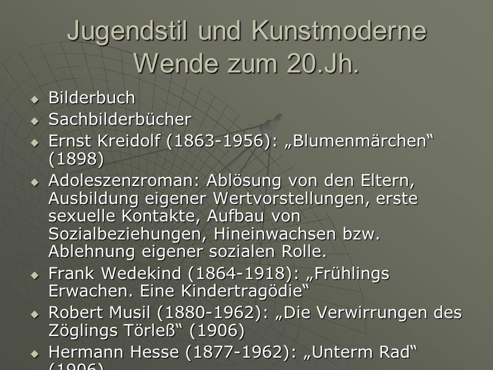 Jugendstil und Kunstmoderne Wende zum 20.Jh. Bilderbuch Bilderbuch Sachbilderbücher Sachbilderbücher Ernst Kreidolf (1863-1956): Blumenmärchen (1898)