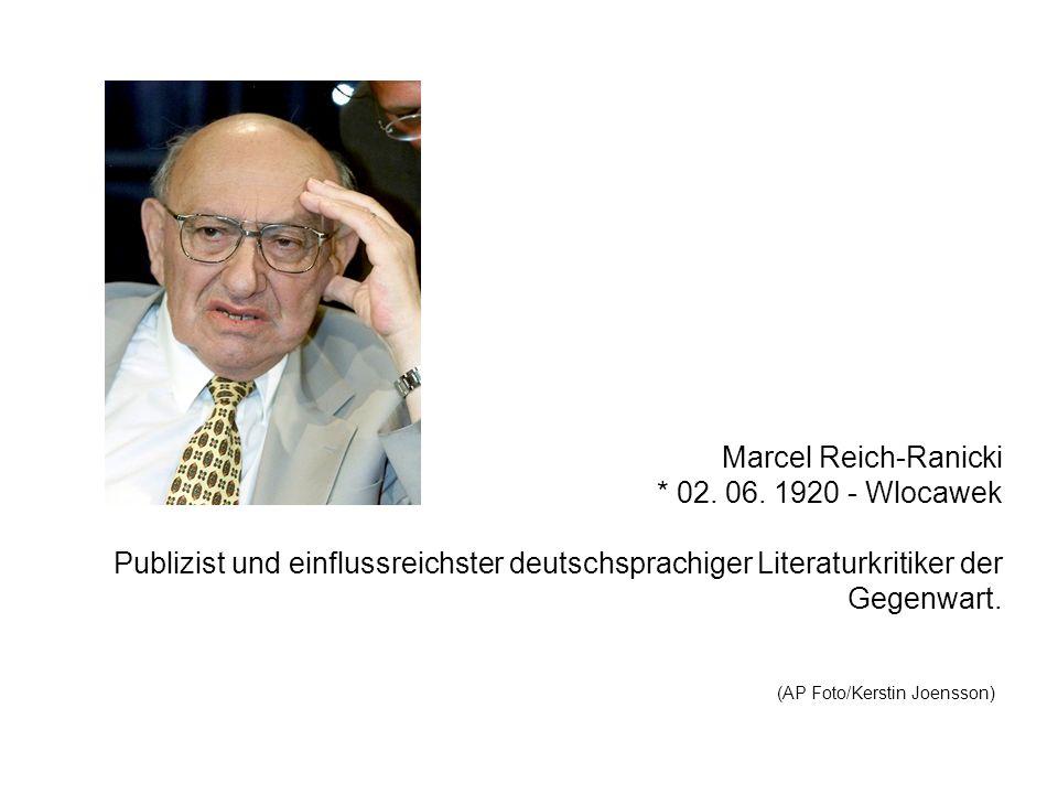 Marcel Reich-Ranicki * 02. 06. 1920 - Wlocawek Publizist und einflussreichster deutschsprachiger Literaturkritiker der Gegenwart. (AP Foto/Kerstin Joe