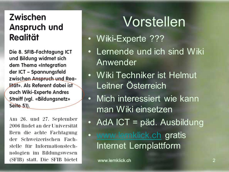 www.lernklick.ch33 Gemeinsam ein Lernprogramm erstellen