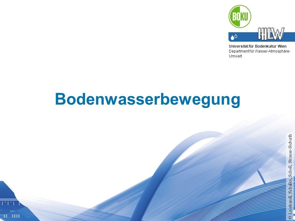 Universität für Bodenkultur Wien Department für Wasser-Atmosphäre- Umwelt Bodenwasserbewegung © Loiskandl, Schalko, Scholl, Strauss-Sieberth