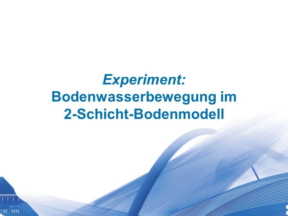 Universität für Bodenkultur Wien Department für Wasser-Atmosphäre- Umwelt Experiment: Bodenwasserbewegung im 2-Schicht-Bodenmodell