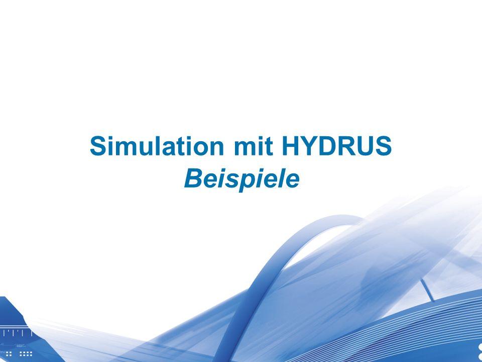 Universität für Bodenkultur Wien Department für Wasser-Atmosphäre- Umwelt Simulation mit HYDRUS Beispiele