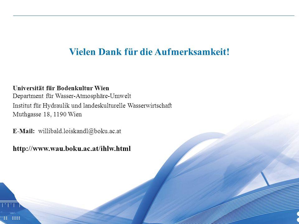 26 Universität für Bodenkultur Wien Department für Wasser-Atmosphäre-Umwelt Institut für Hydraulik und landeskulturelle Wasserwirtschaft Muthgasse 18,