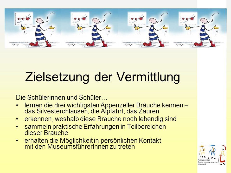 Begrüssung Einstieg mit Film (20 Min.) Gelebte Tradition, Brauchtum im Appenzellerland Gruppeneinteilung Arbeit in 3 Workshop-Gruppen à 20 Minuten Gemeinsames Zauren Gesamter Zeitaufwand der Führung 1 Std.