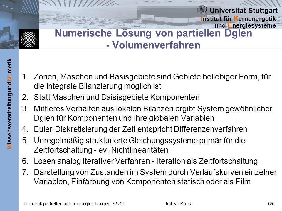 Universität Stuttgart Wissensverarbeitung und Numerik I nstitut für K ernenergetik und E nergiesysteme Numerik partieller Differentialgleichungen, SS 01Teil 3 : Kp.