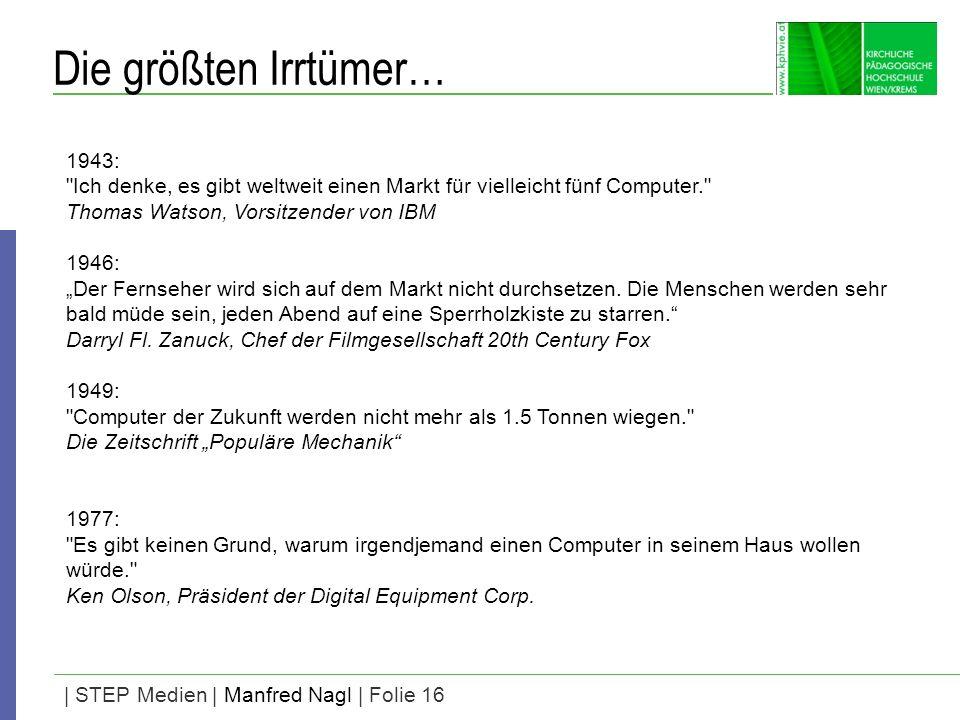 | STEP Medien | Manfred Nagl | Folie 16 Die größten Irrtümer… 1943: