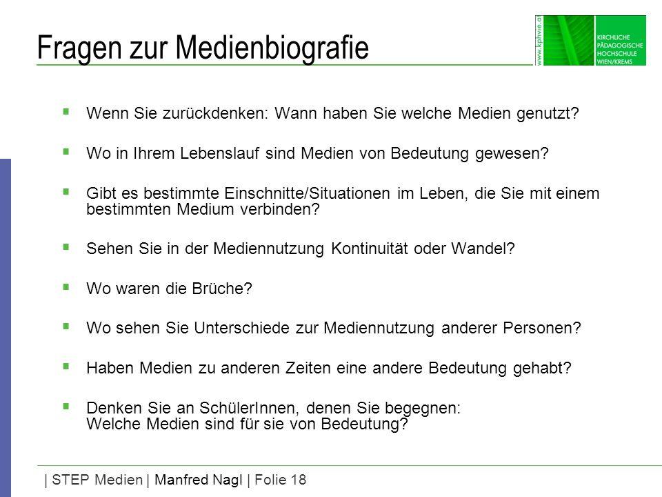 | STEP Medien | Manfred Nagl | Folie 18 Fragen zur Medienbiografie Wenn Sie zurückdenken: Wann haben Sie welche Medien genutzt? Wo in Ihrem Lebenslauf