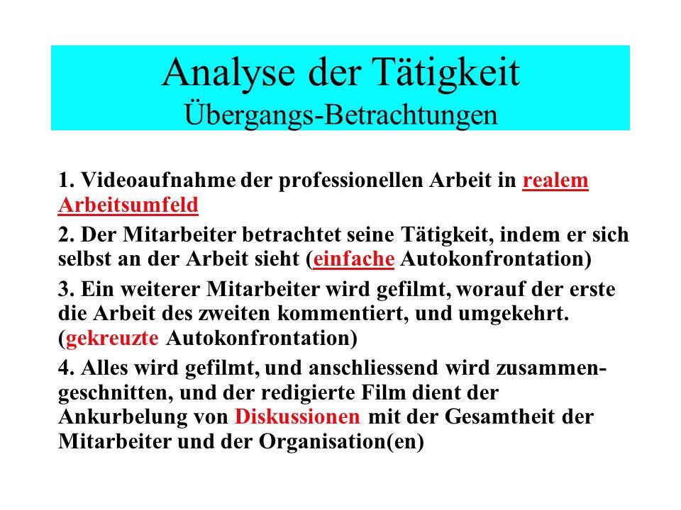 Analyse der Tätigkeit Übergangs-Betrachtungen 1.