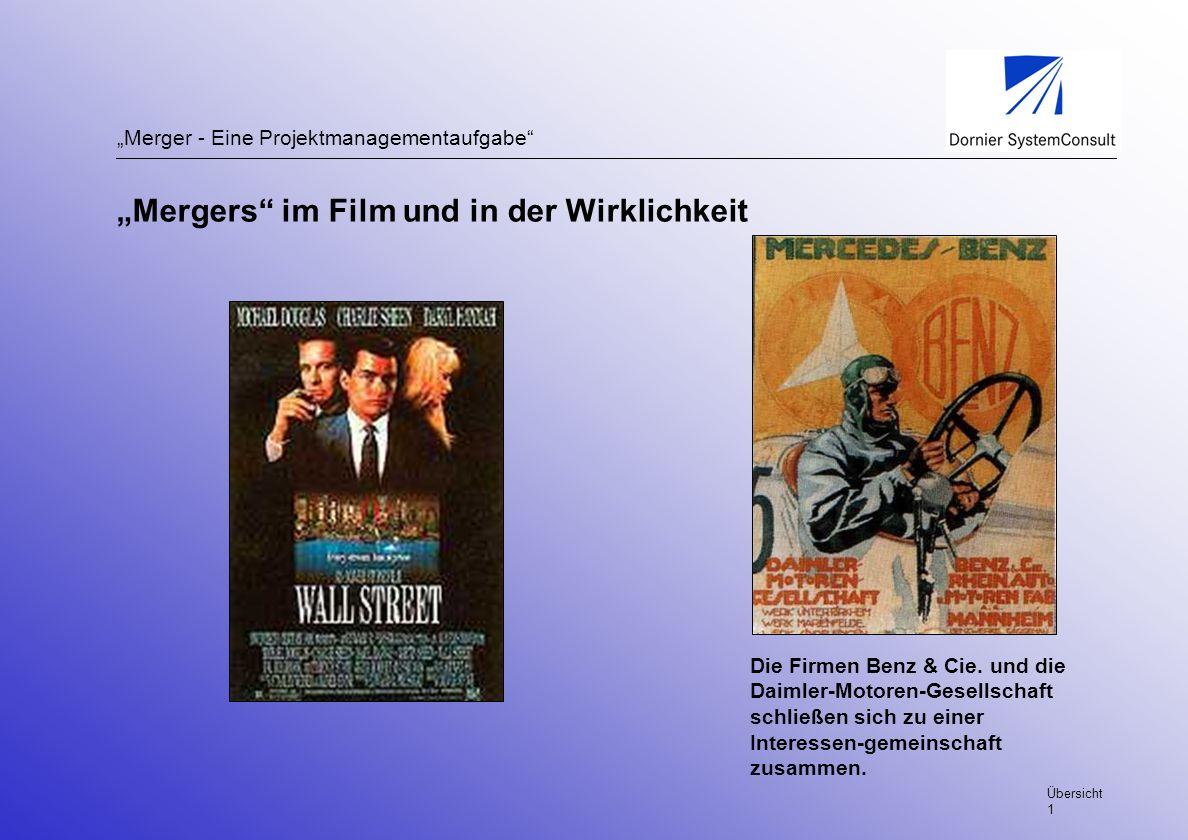 Merger - Eine Projektmanagementaufgabe Die Firmen Benz & Cie. und die Daimler-Motoren-Gesellschaft schließen sich zu einer Interessen-gemeinschaft zus