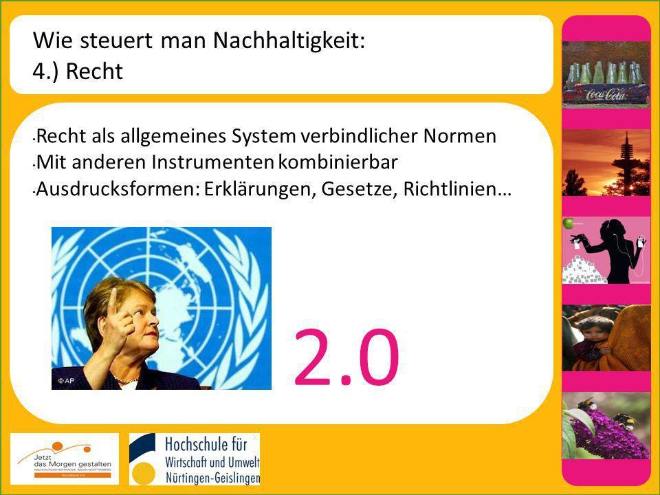 Wie steuert man Nachhaltigkeit: 4.) Recht Recht als allgemeines System verbindlicher Normen Mit anderen Instrumenten kombinierbar Ausdrucksformen: Erklärungen, Gesetze, Richtlinien… 2.0