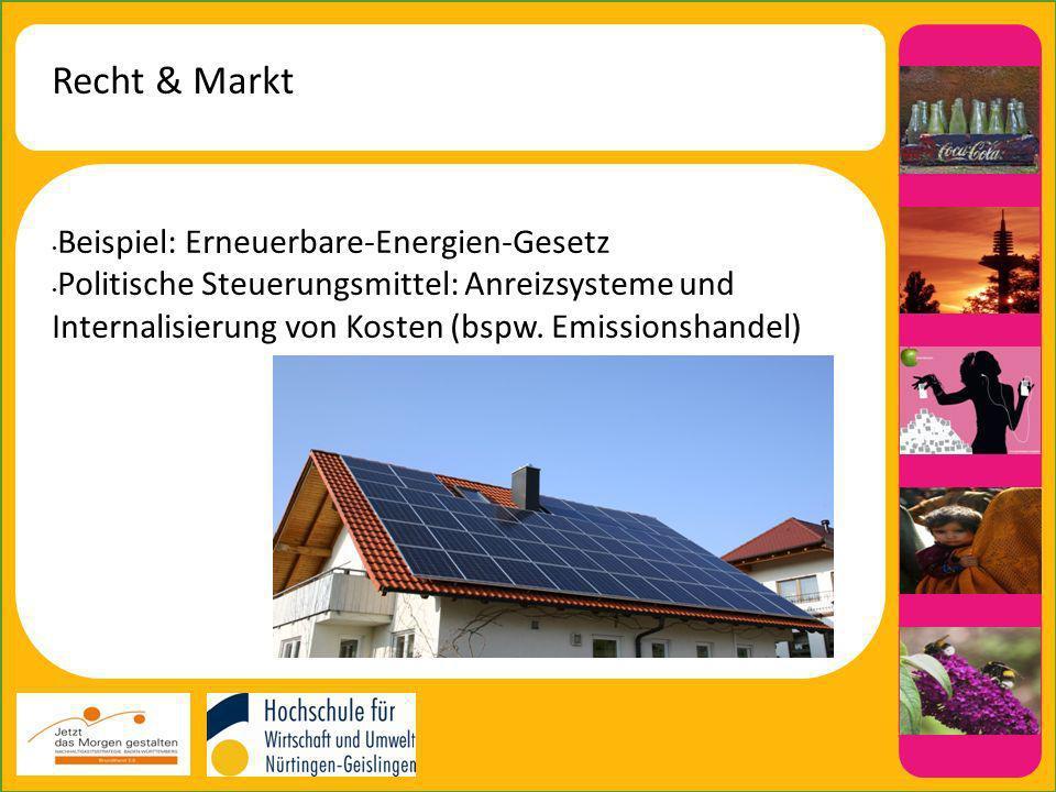 Recht & Markt Beispiel: Erneuerbare-Energien-Gesetz Politische Steuerungsmittel: Anreizsysteme und Internalisierung von Kosten (bspw.