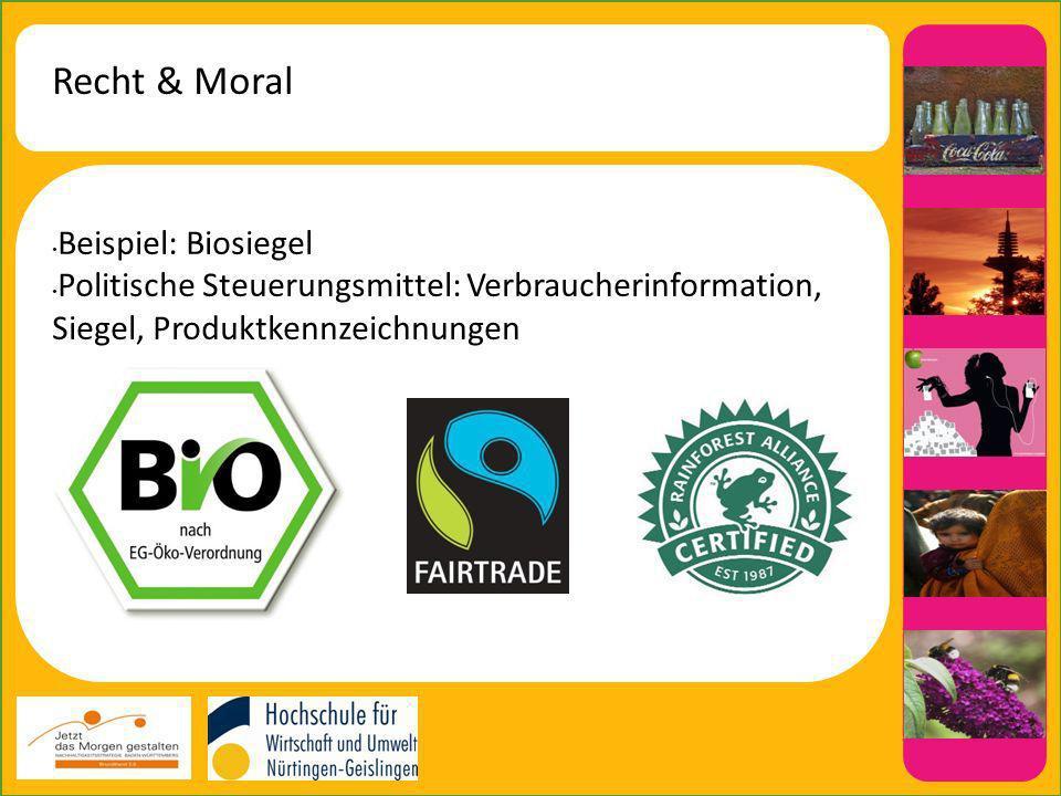 Recht & Moral Beispiel: Biosiegel Politische Steuerungsmittel: Verbraucherinformation, Siegel, Produktkennzeichnungen