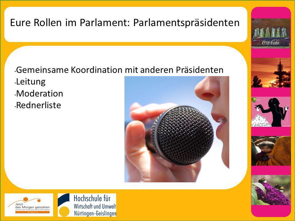 Eure Rollen im Parlament: Parlamentspräsidenten Gemeinsame Koordination mit anderen Präsidenten Leitung Moderation Rednerliste