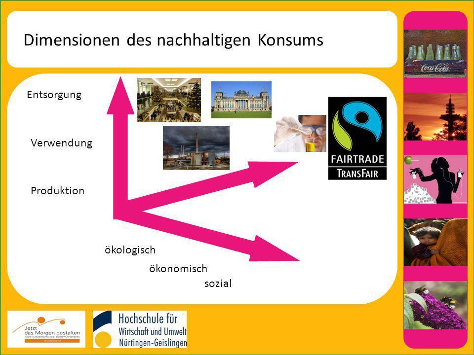 Dimensionen des nachhaltigen Konsums Entsorgung Verwendung Produktion ökologisch ökonomisch sozial