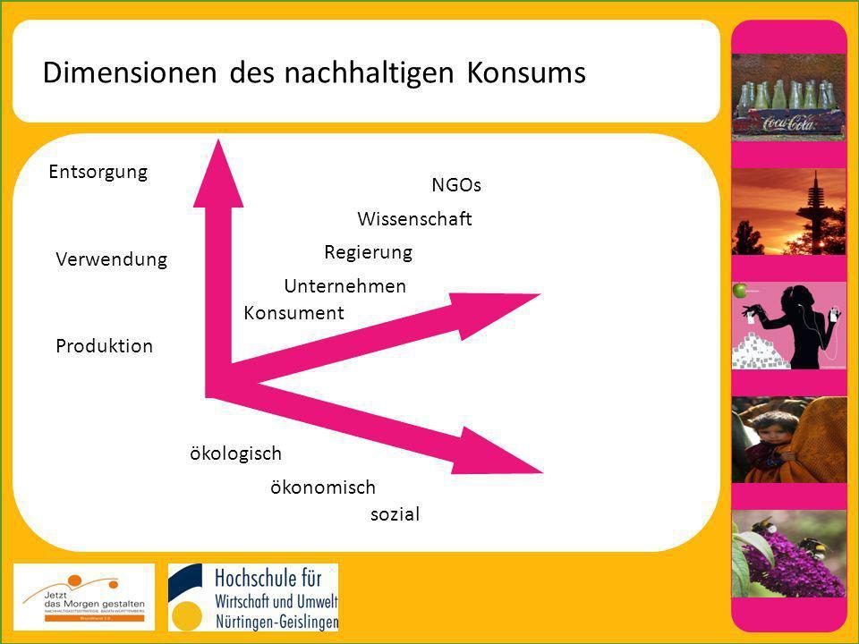 Dimensionen des nachhaltigen Konsums Entsorgung Verwendung Produktion ökologisch ökonomisch sozial Konsument Unternehmen Regierung Wissenschaft NGOs