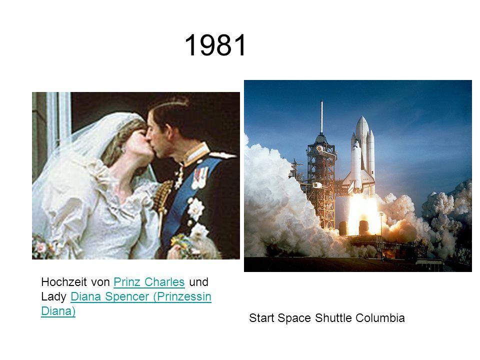 1981 Start Space Shuttle Columbia Hochzeit von Prinz Charles und Lady Diana Spencer (Prinzessin Diana)Prinz CharlesDiana Spencer (Prinzessin Diana)