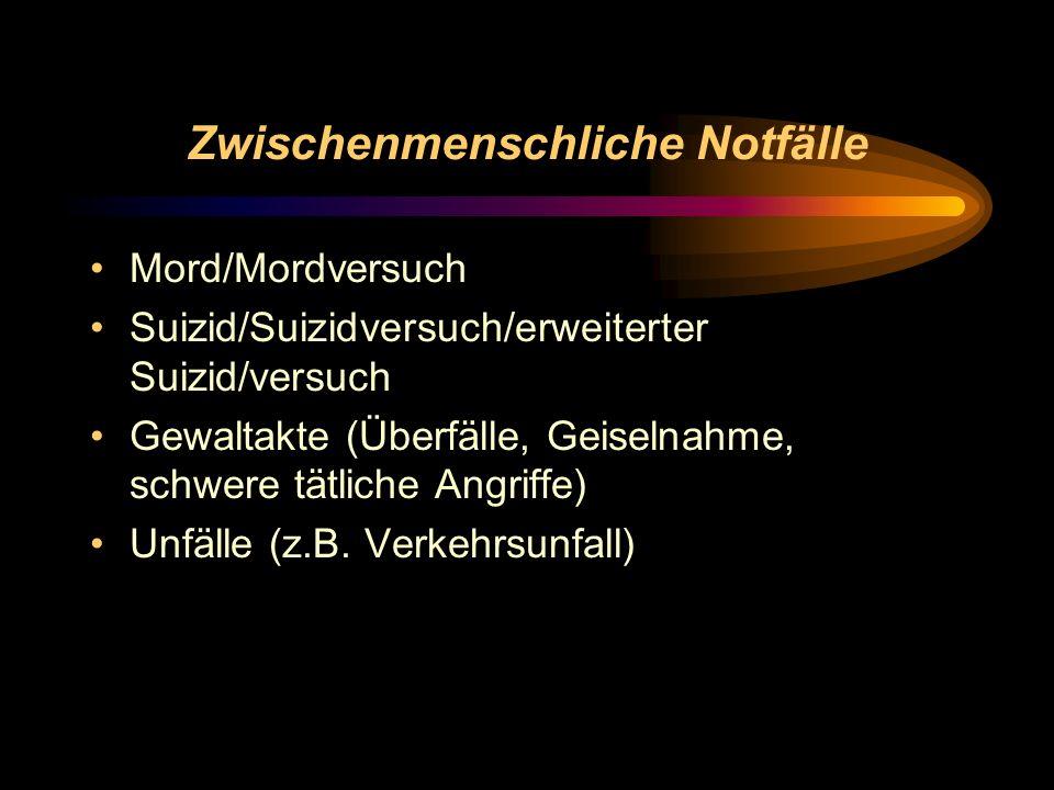 Zwischenmenschliche Notfälle Mord/Mordversuch Suizid/Suizidversuch/erweiterter Suizid/versuch Gewaltakte (Überfälle, Geiselnahme, schwere tätliche Ang