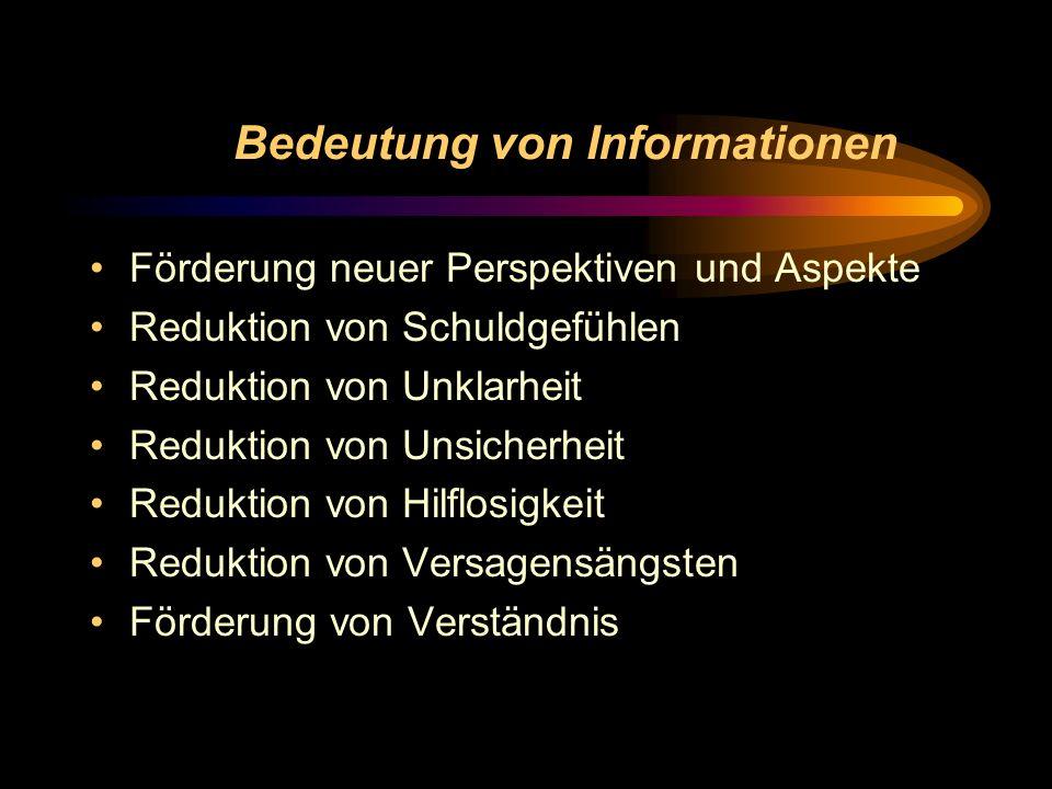 Bedeutung von Informationen Förderung neuer Perspektiven und Aspekte Reduktion von Schuldgefühlen Reduktion von Unklarheit Reduktion von Unsicherheit