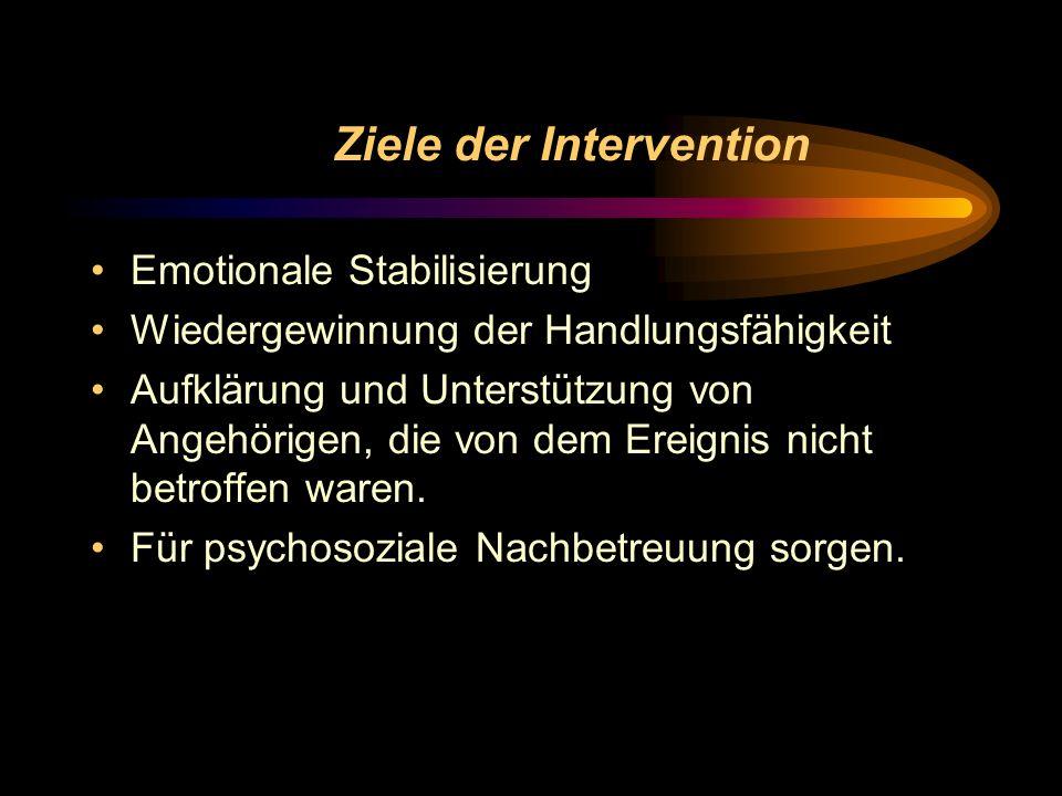 Ziele der Intervention Emotionale Stabilisierung Wiedergewinnung der Handlungsfähigkeit Aufklärung und Unterstützung von Angehörigen, die von dem Erei
