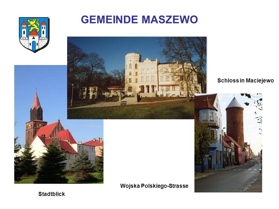 GEMEINDE MASZEWO Stadtblick Wojska Polskiego-Strasse Schloss in Maciejewo