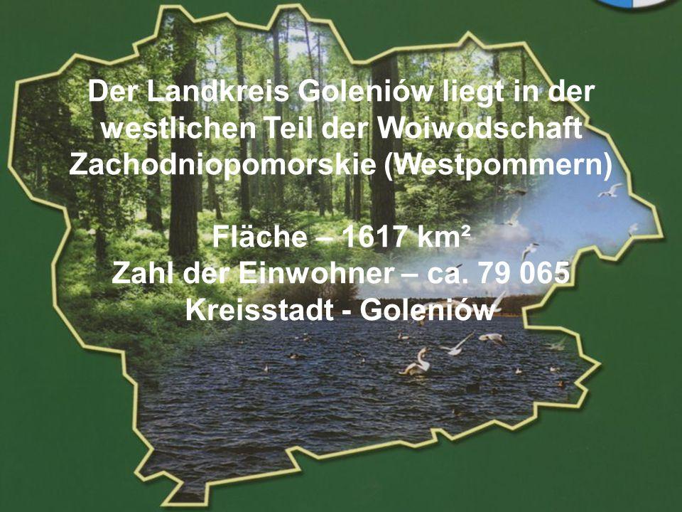 POWIAT GOLENIOWSKI Der Landkreis Goleniów liegt in der westlichen Teil der Woiwodschaft Zachodniopomorskie (Westpommern) Fläche – 1617 km² Zahl der Ei