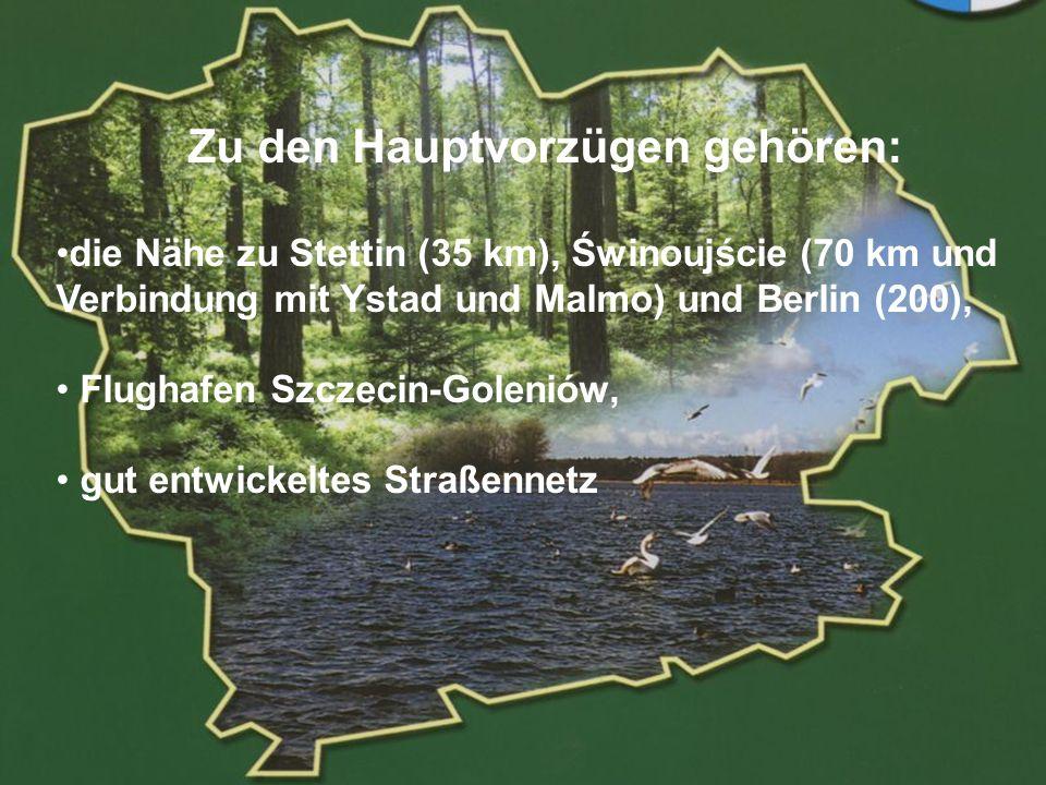 POWIAT GOLENIOWSKI Zu den Hauptvorzügen gehören: die Nähe zu Stettin (35 km), Świnoujście (70 km und Verbindung mit Ystad und Malmo) und Berlin (200), Flughafen Szczecin-Goleniów, gut entwickeltes Straßennetz