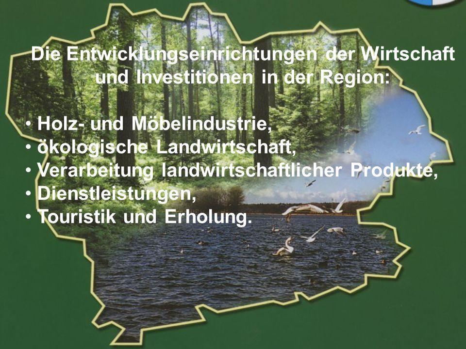 POWIAT GOLENIOWSKI Die Entwicklungseinrichtungen der Wirtschaft und Investitionen in der Region: Holz- und Möbelindustrie, ökologische Landwirtschaft,