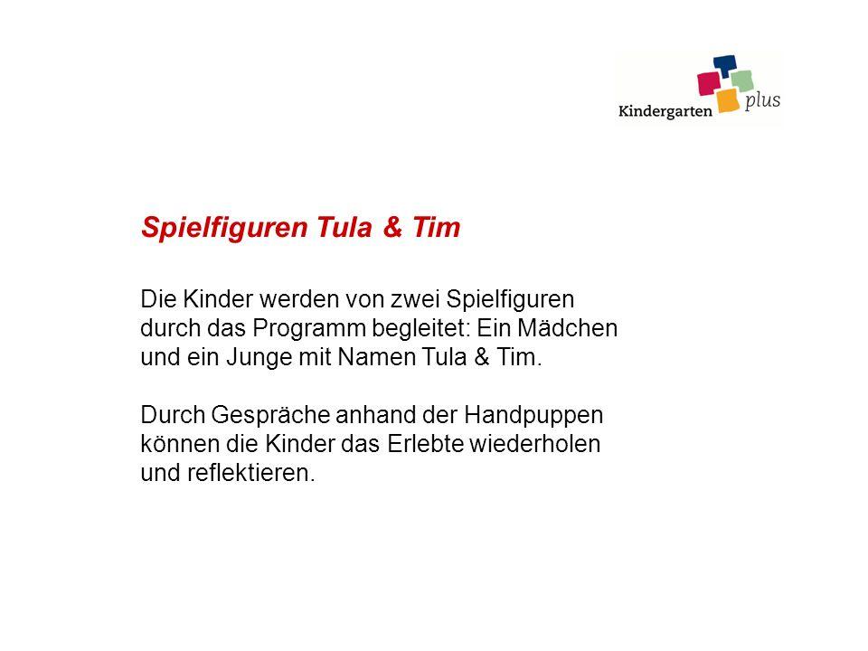 Spielfiguren Tula & Tim Die Kinder werden von zwei Spielfiguren durch das Programm begleitet: Ein Mädchen und ein Junge mit Namen Tula & Tim. Durch Ge