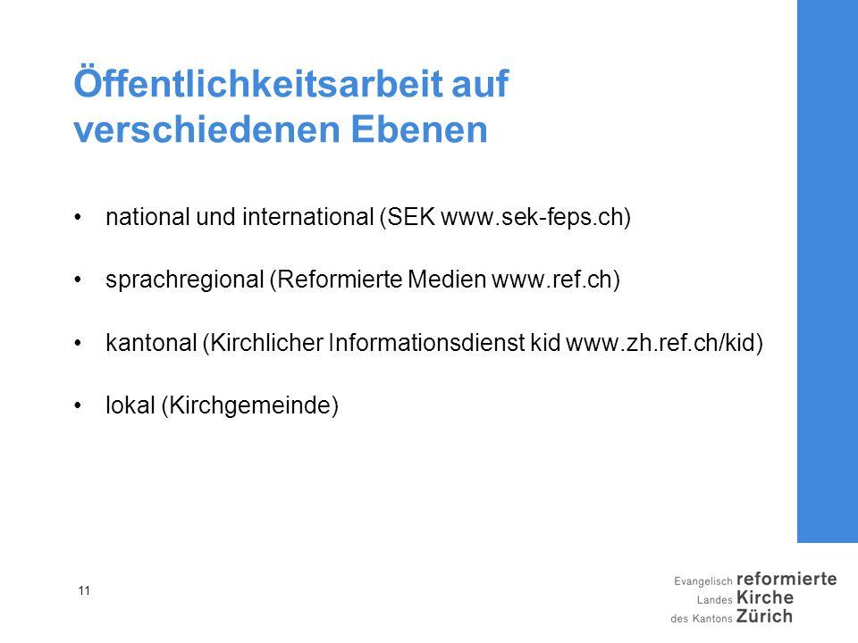 11 Öffentlichkeitsarbeit auf verschiedenen Ebenen national und international (SEK www.sek-feps.ch) sprachregional (Reformierte Medien www.ref.ch) kant