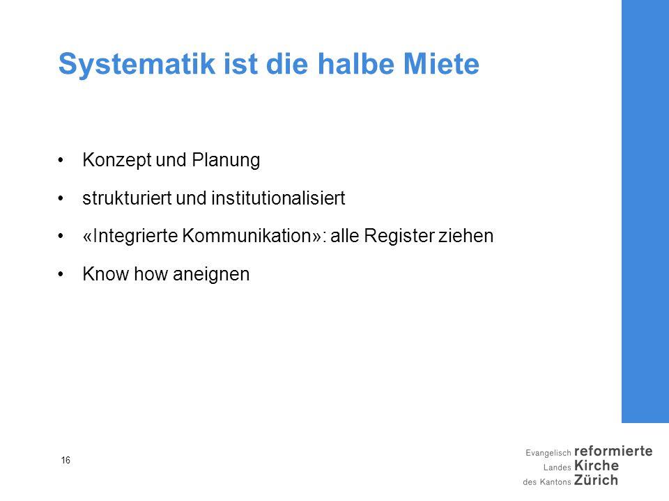 16 Systematik ist die halbe Miete Konzept und Planung strukturiert und institutionalisiert «Integrierte Kommunikation»: alle Register ziehen Know how