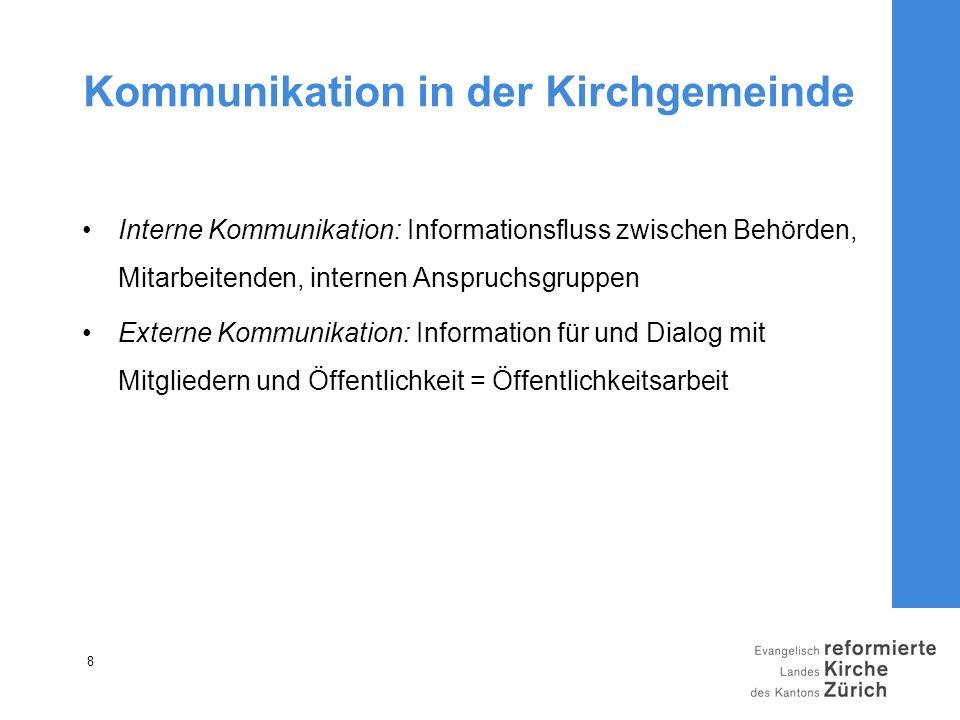 8 Kommunikation in der Kirchgemeinde Interne Kommunikation: Informationsfluss zwischen Behörden, Mitarbeitenden, internen Anspruchsgruppen Externe Kom