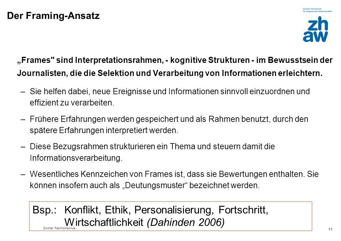 Zürcher Fachhochschule 11 Der Framing-Ansatz Frames