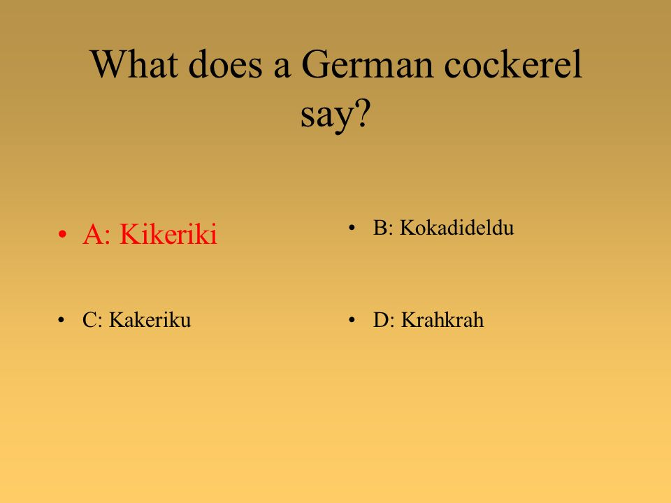 What does a German cockerel say? A: KikerikiB: Kokadideldu C: KakerikuD: Krahkrah