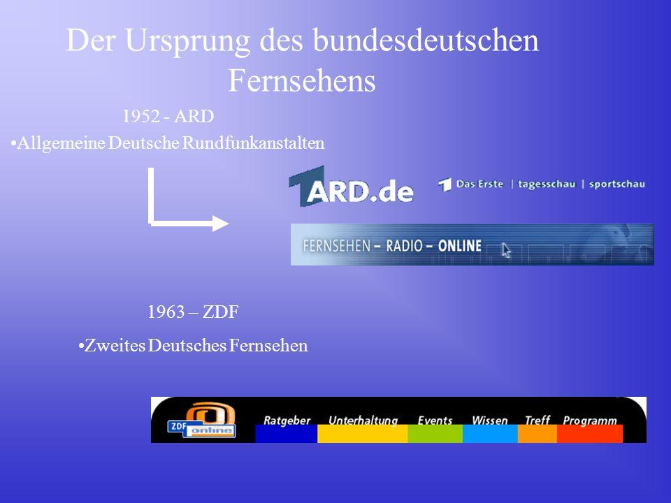 Der Ursprung des bundesdeutschen Fernsehens 1952 - ARD Allgemeine Deutsche Rundfunkanstalten 1963 – ZDF Zweites Deutsches Fernsehen