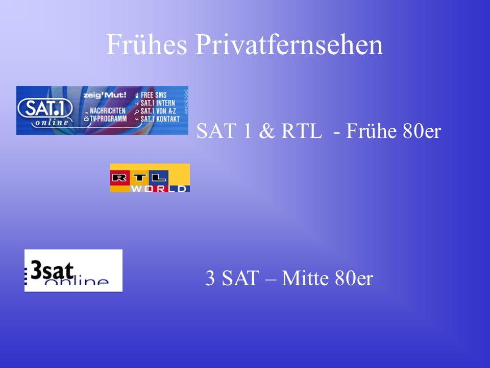 Frühes Privatfernsehen SAT 1 & RTL - Frühe 80er 3 SAT – Mitte 80er
