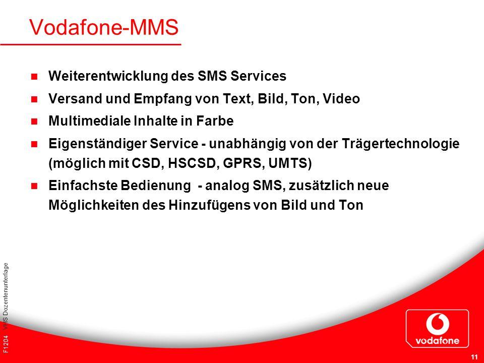F1204 VHS Dozentenunterlage 11 Weiterentwicklung des SMS Services Versand und Empfang von Text, Bild, Ton, Video Multimediale Inhalte in Farbe Eigenst