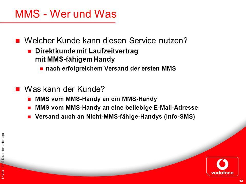 F1204 VHS Dozentenunterlage 14 Welcher Kunde kann diesen Service nutzen? Direktkunde mit Laufzeitvertrag mit MMS-fähigem Handy nach erfolgreichem Vers