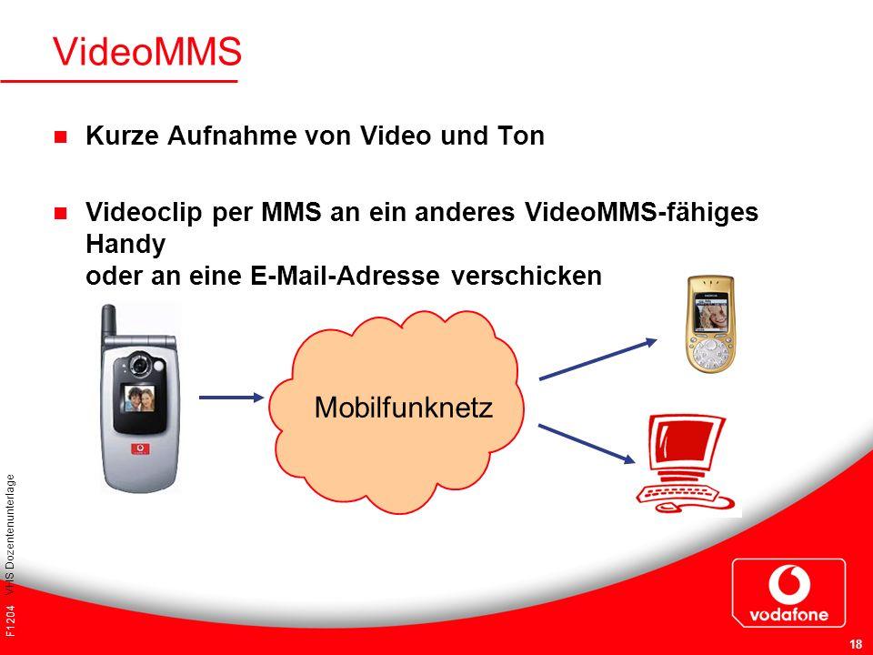 F1204 VHS Dozentenunterlage 18 VideoMMS Kurze Aufnahme von Video und Ton Videoclip per MMS an ein anderes VideoMMS-fähiges Handy oder an eine E-Mail-A
