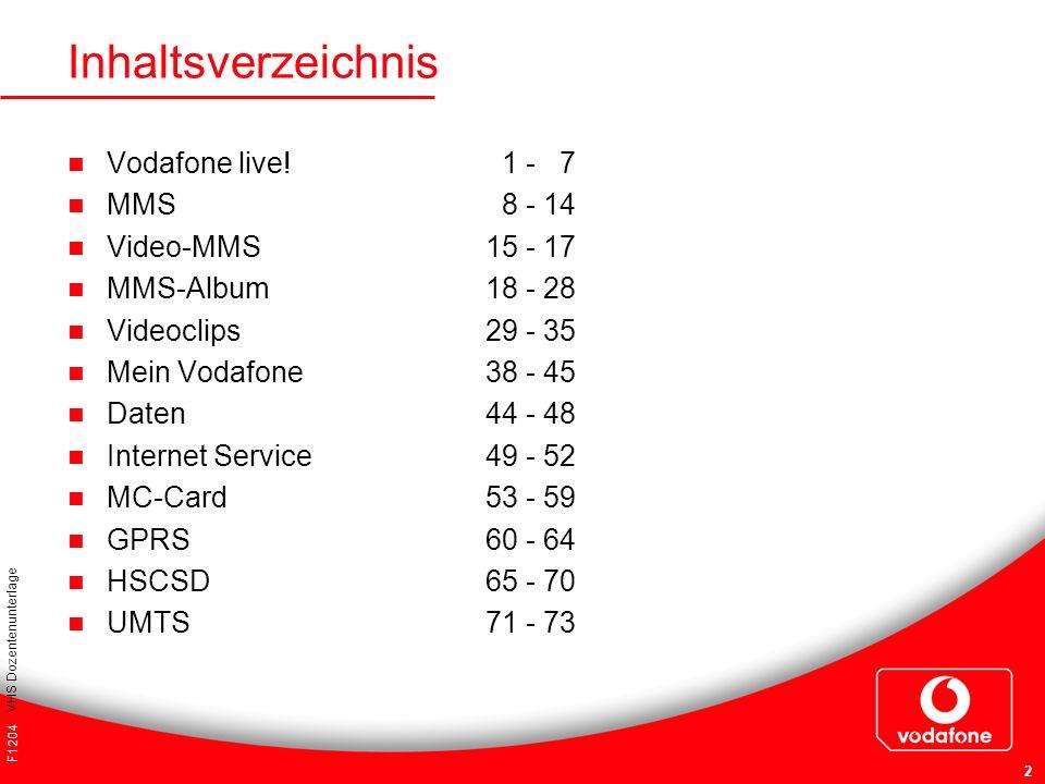 F1204 VHS Dozentenunterlage 2 Inhaltsverzeichnis Vodafone live! 1 - 7 MMS 8 - 14 Video-MMS15 - 17 MMS-Album18 - 28 Videoclips29 - 35 Mein Vodafone38 -