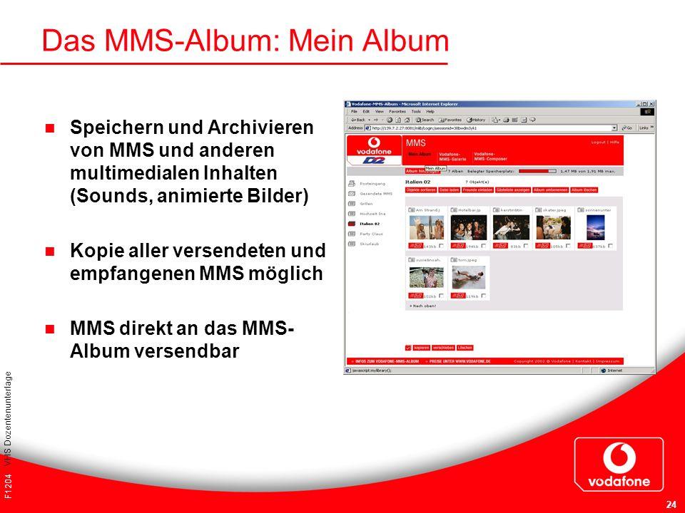F1204 VHS Dozentenunterlage 24 Das MMS-Album: Mein Album Speichern und Archivieren von MMS und anderen multimedialen Inhalten (Sounds, animierte Bilde